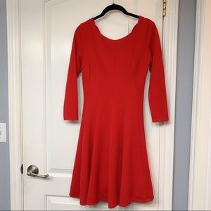 Anthropologie Long Sleeve Dress Red
